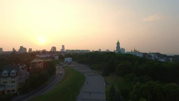 Thumbnail for City Park on Sunset Background, Aerial View Kiev Pechersk Lavra on Green Hills
