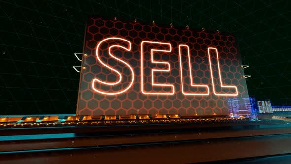 Buy Sell Online Shopping and Online Sells Words on Digital Futuristic Circuit Board