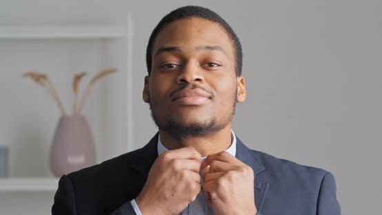 Portrait of Afro American Confident Business Man Stylish Ethnic Guy Groom Preparing for Wedding