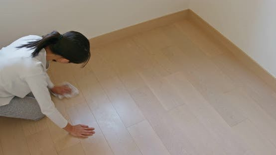 Thumbnail for Asian Housewife woman wash the floor with rag
