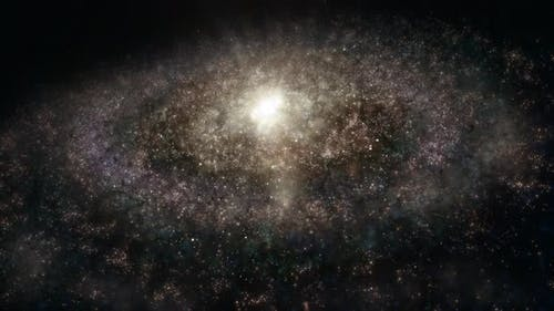 Full Frame Wide Shot of Revolving Looped Giant Alien Milky Way Like Spiral Galaxy in Deep Space