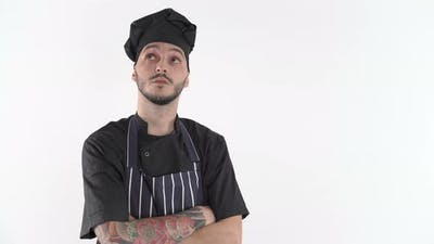 Chef in Uniform Thinking What to Cook