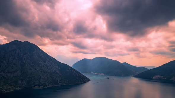 Thumbnail for The Movement of Rain Clouds Over the Mountains in Montenegro at Sunset