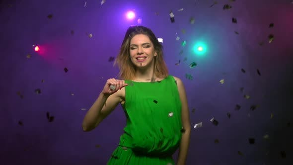 Thumbnail for Close-up Dancing of Young Woman in Green Dress. Slow Motion