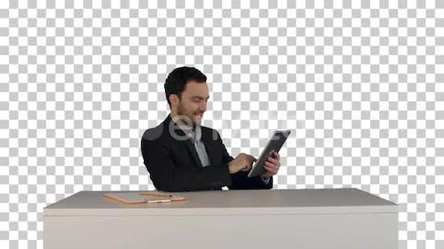 Business man working on digital tablet, Alpha Channel