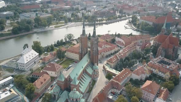 Aerial Top View of Wroclaw, Ostrow Tumski, Cathedral of St. John the Baptist, Katedra Swietego Jana