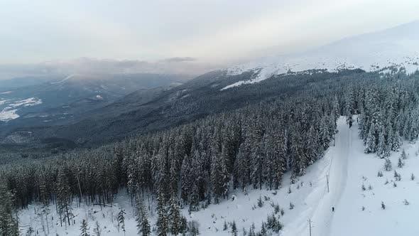 Winter Carpatians Natur, Luftaufnahme Realtime, UHD 4K