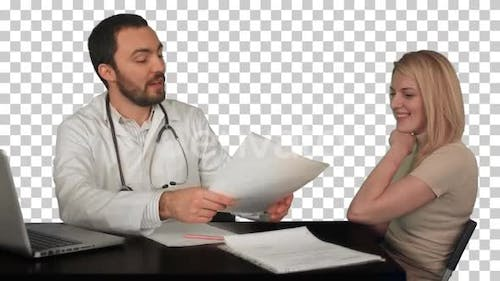 Smiling doctor read medical history of, Alpha Channel