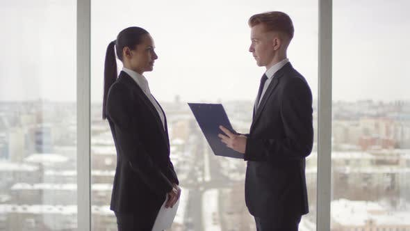 Thumbnail for Businesswoman and Businessman in Formalwear Discussing Work