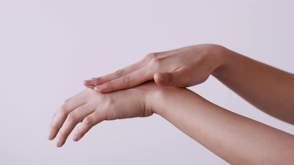 Hand Care Skin Treatment Woman Applying Cream