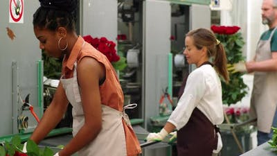 African American Woman Working at Roses Factory