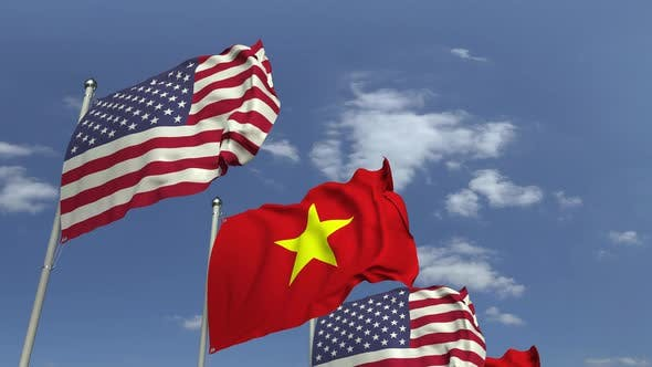Thumbnail for Flags of Vietnam and the USA at International Meeting