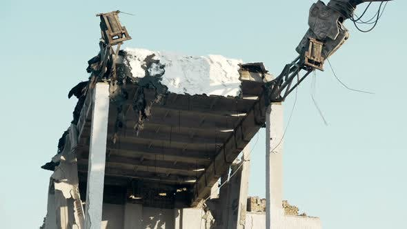 Thumbnail for High Reach Machine Trashing Destroyed Construction by Demolition Tool, Upheaval