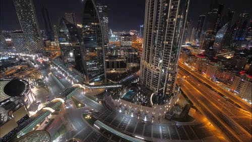Radiant Lite Cityscape Urban Night Lights Skyscrapers Buildings