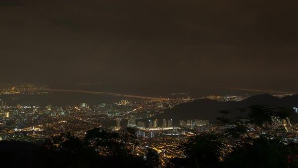 Thumbnail for Penang Night Aerial Cityscape, Malaysia