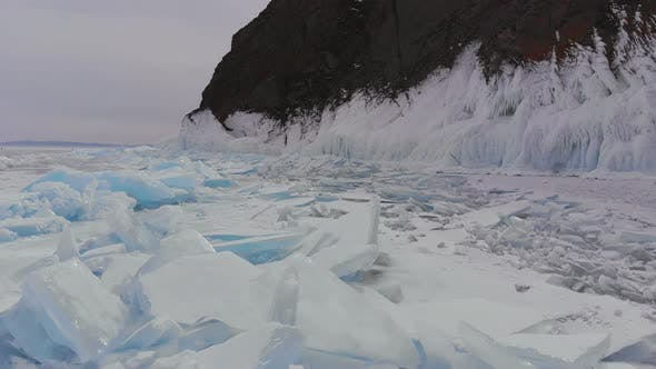 Thumbnail for Aerial View of Winter Ice Landscape on Lake Baikal