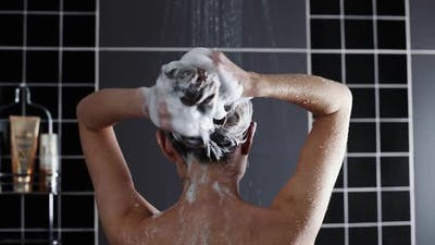 Woman Washes Her Hair with Shampoo in the Shower With, Hair Care, Ceratin Mask, Rinse Shampoo and