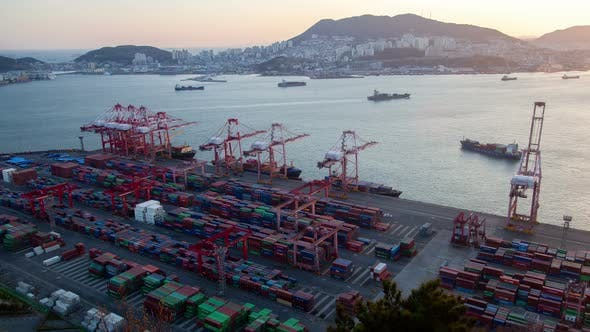 Thumbnail for Timelapse Busan Port with Coloured Containers and Cranes