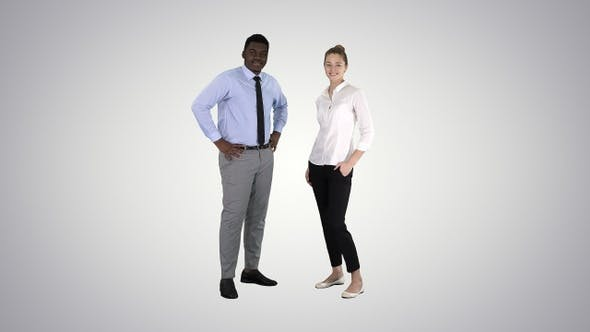 Thumbnail for Successful businesspeople business team posing on gradient