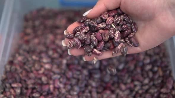 Thumbnail for Eine Frau gießt rote Bohnen aus ihrer Hand in einen Haufen auf dem Markt Nahaufnahme. Zeitlupe