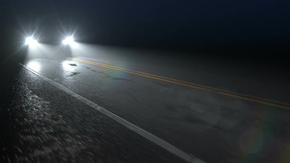 Thumbnail for Car Drives Along Country Night Wet Road with Headlights Turned On