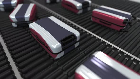 Thumbnail for Travel Suitcases with Flag of Thailand on Conveyer