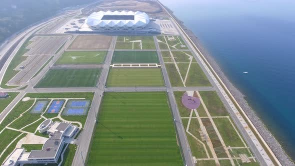 Various Sports Complex and Administrative Building Near the Sea