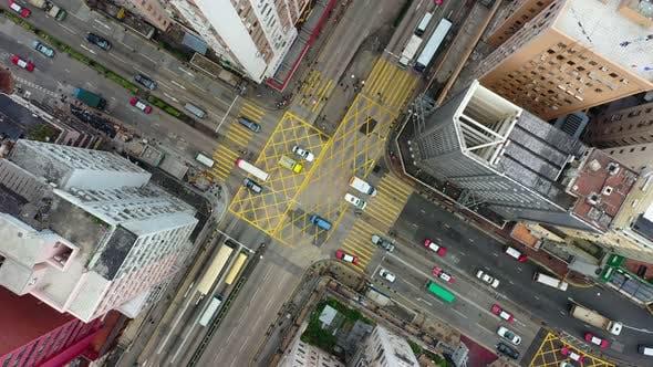 Thumbnail for Top view of Hong Kong traffic intersection