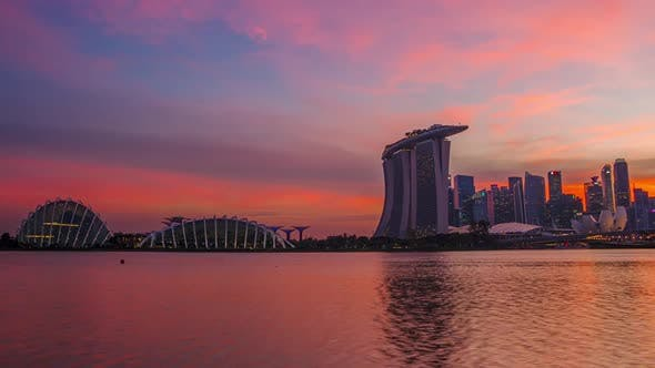 Thumbnail for Sunset Sky and the Lights of Skyscrapers in Singapore
