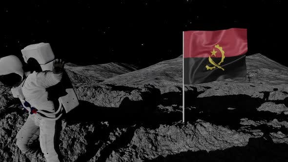 Angola Flag on Moons Surface With Floating Astronaut
