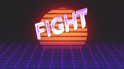 Animation vintage video game screen with word fight written