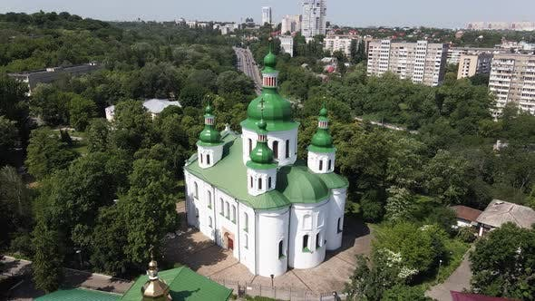 Thumbnail for The Architecture of Kyiv. Ukraine: St. Cyril Church in Kyiv. Ukraine. Aerial View. Slow Motion.