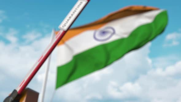 Thumbnail for Barrier Gate with QUARANTINE Sign Being Closed Against Flag of India