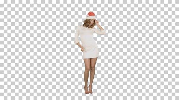 Christmas girl in santa hat dancing happy, Alpha Channel