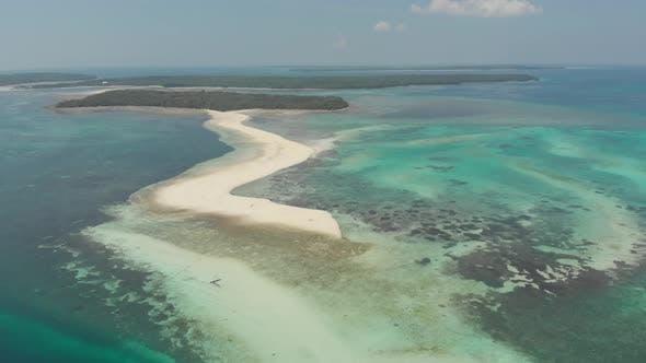 Thumbnail for Aerial: tropical beach island reef caribbean sea white sand bar Snake Island, Indonesia Maluku