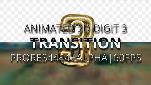 Animated digit 3 transition UHD 60fps