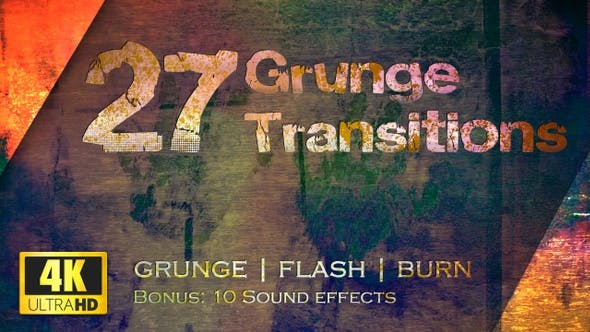 Thumbnail for Grunge Transitions - Pack of 27 - 4K