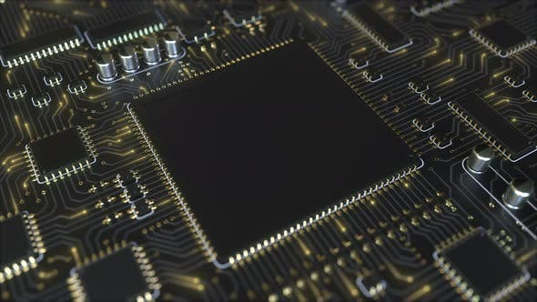 Black Chip on a Circuit Board