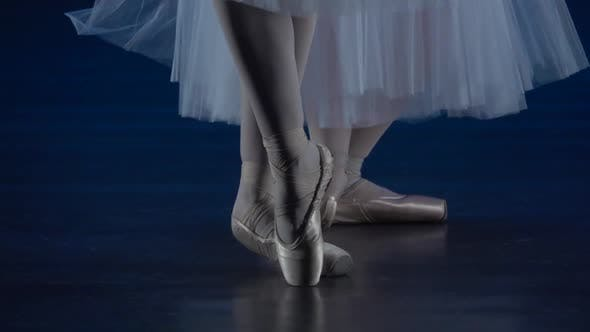 Thumbnail for Ballerina's Legs Dancing in Golden Pointe Shoes. Close Up, Slow Motion.