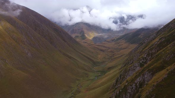 River Valley In The Foggy Mountains