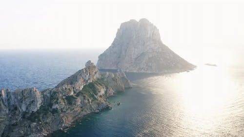 Sparkling Ocean Waters in Ibiza and Cliff Shot From Above