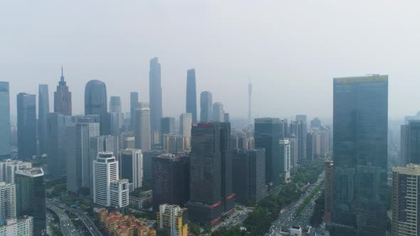 Guangzhou City Skyline and Smog. Guangdong, China. Aerial View