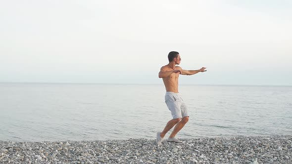 Thumbnail for Young Slim Beautiful Male on Beach, Dancing, Summer Vacation, Having Fun, Positive Mood