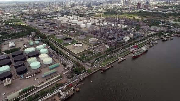 Thumbnail for Industrial Concept, Aerial Above Oil Refinery Processing Plant 05