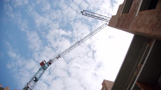 Thumbnail for Crane at Building Construction Site, Architecture Apartments. Wide Shot