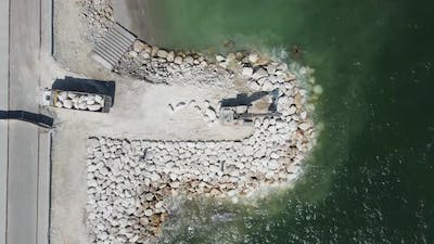 Aerial View Stone Landscaped Coast