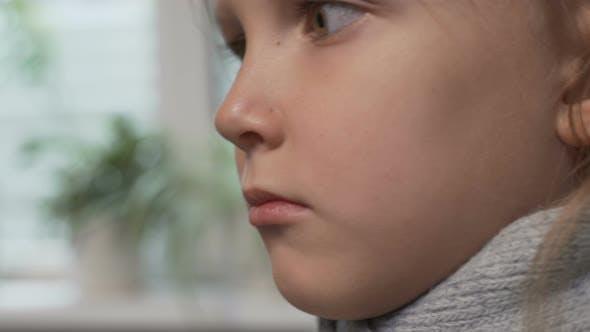 Little Girl Child Sick Runny Nose Drinks Medication