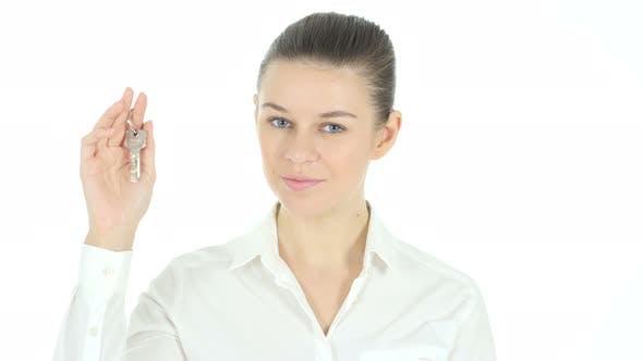 Thumbnail for Real Estate Female Agent Offering House Keys,