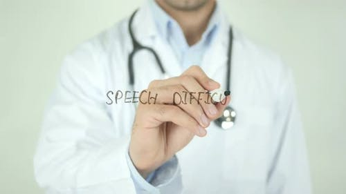 Speech Difficulty, Doctor Writing on Transparent Screen