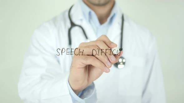 Thumbnail for Speech Difficulty, Doctor Writing on Transparent Screen